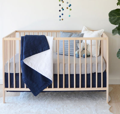 navy blue color 100% linen baby bedding crib skirt dust ruffle all-natural flax