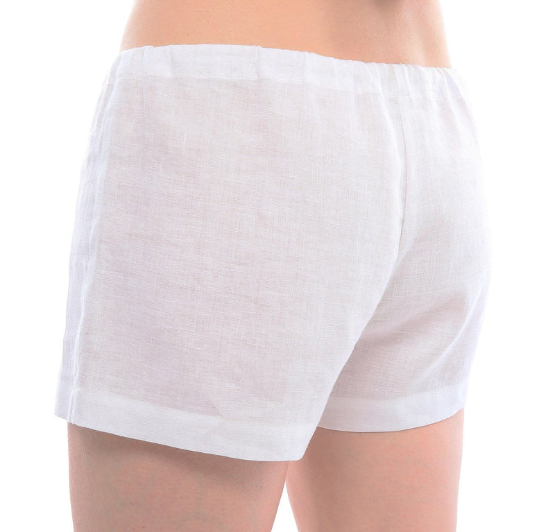 woman wearing 100% linen shorts soft pre-washed linen fabric drawstring waist white color