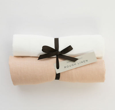 Pair of 100% linen swaddle blankets baby wrap multi-use cover, all-natural flax white blush pink