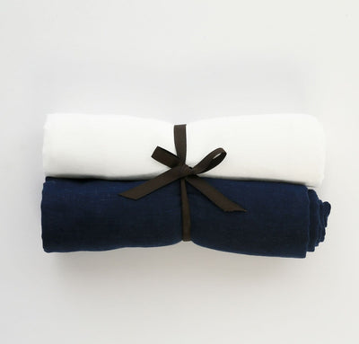 Pair of 100% linen swaddle blankets baby wrap multi-use cover, all-natural flax white navy blue