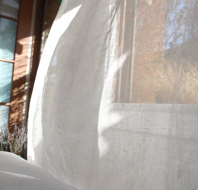window with 100% linen curtain lightweight sheer airy open-weave pure linen off-white white color