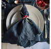 table setting with 100% linen napkin limited edition mid-weight soft linen fabric ink navy color