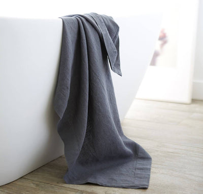 bathtub with 100% linen bath sheet heavyweight Orkney linen fabric sturdy antimicrobial large bath towel charcoal dark grey color