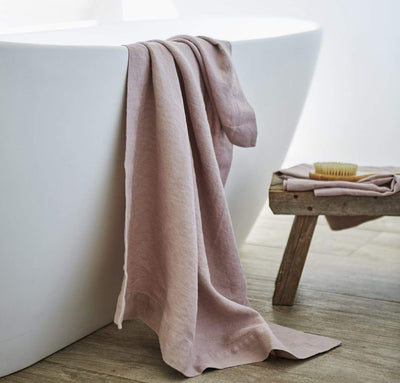 bathtub with 100% linen bath sheet heavyweight Orkney linen fabric sturdy antimicrobial large bath towel rose light pink color