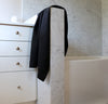 bathroom scene with100% linen bath towel sturdy antimicrobial fast drying heavyweight Orkney linen fabric black color
