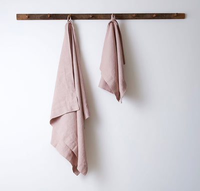 hanging 100% linen bath towel sturdy antimicrobial fast drying heavyweight Orkney linen fabric rose light pink color