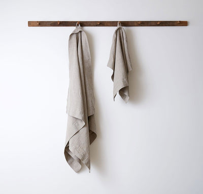 hanging 100% linen bath towel sturdy antimicrobial fast drying heavyweight Orkney linen fabric natural light brown tan beige color