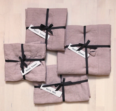 set of 100% linen bathroom linens including bath sheet bath towel hand towel bath mat wash cloths heavyweight Orkney linen fabric rose light pink color