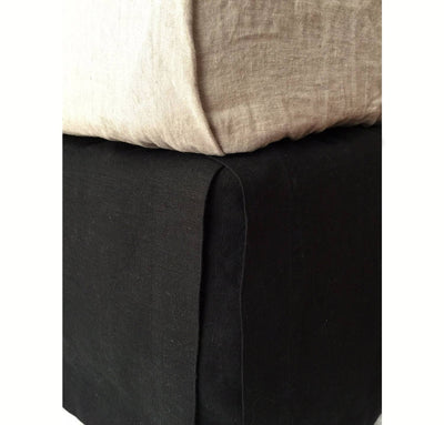 bed detail of 100% linen bedskirt heavyweight Orkney linen fabric black color