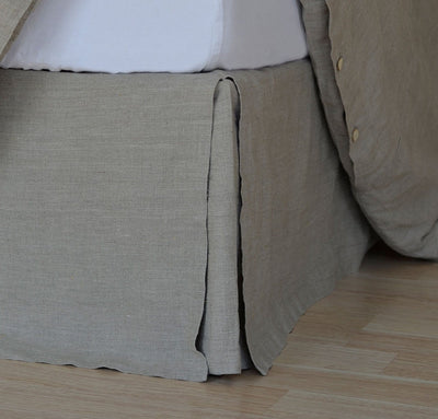 bed detail of 100% linen bedskirt heavyweight Orkney linen fabric natural light brown beige tan color