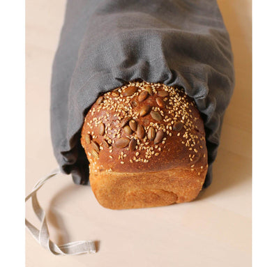 bread inside 100% linen bread bag heavyweight Orkney fabric charcoal dark grey color
