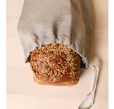 bread inside 100% linen bread bag heavyweight Orkney fabric natural light brown beige color