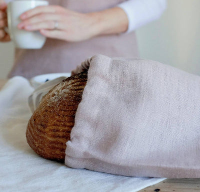 bread inside 100% linen bread bag heavyweight Orkney rose light pink blush color