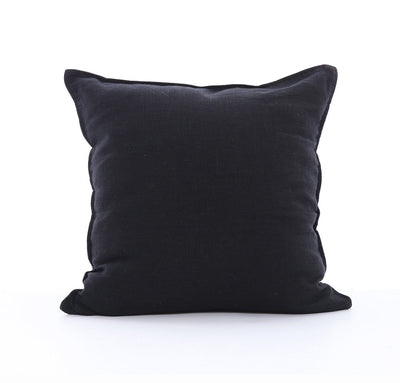 100% linen cushion cover 18 inch square Orkney heavyweight linen fabric black color