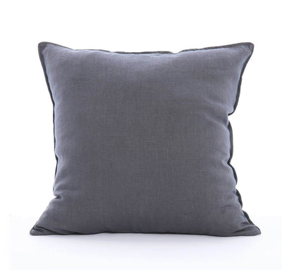 100% linen cushion cover 18 inch square Orkney heavyweight linen fabric charcoal dark grey color