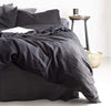 bed with 100% linen duvet cover heavyweight Orkney linen fabric bed comforter black color