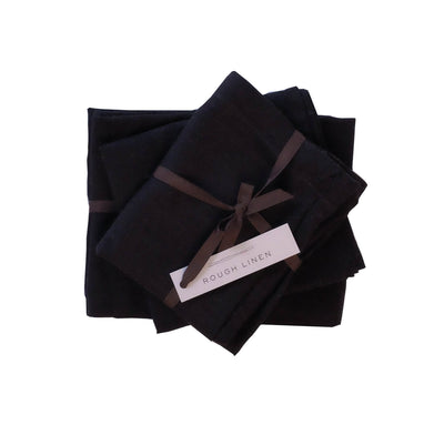 packaged set of 100% linen tea towels bread bag apron heavyweight Orkney linen fabric black color