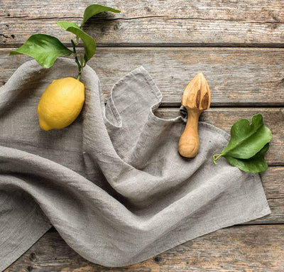 all natural flax linen tea towel with lemon, rustic linen dish towel