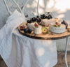 white linen kitchen tea towels, quality heavyweight 100% flax, beautiful summer cheese board