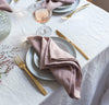 dining table scene with 100% linen napkins heavyweight Orkney linen fabric light pink rose blush color