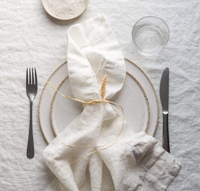 dining table scene with 100% linen napkins heavyweight Orkney linen fabric off-white white color