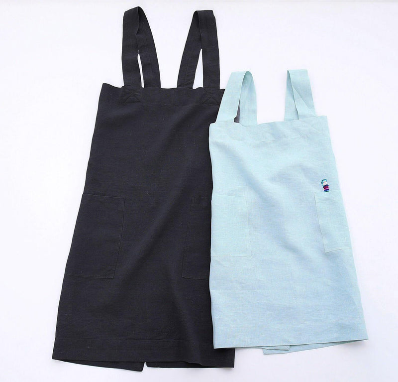 picture of woman and child wearing 100% linen pinafore apron light blue aqua grey charcoal colors