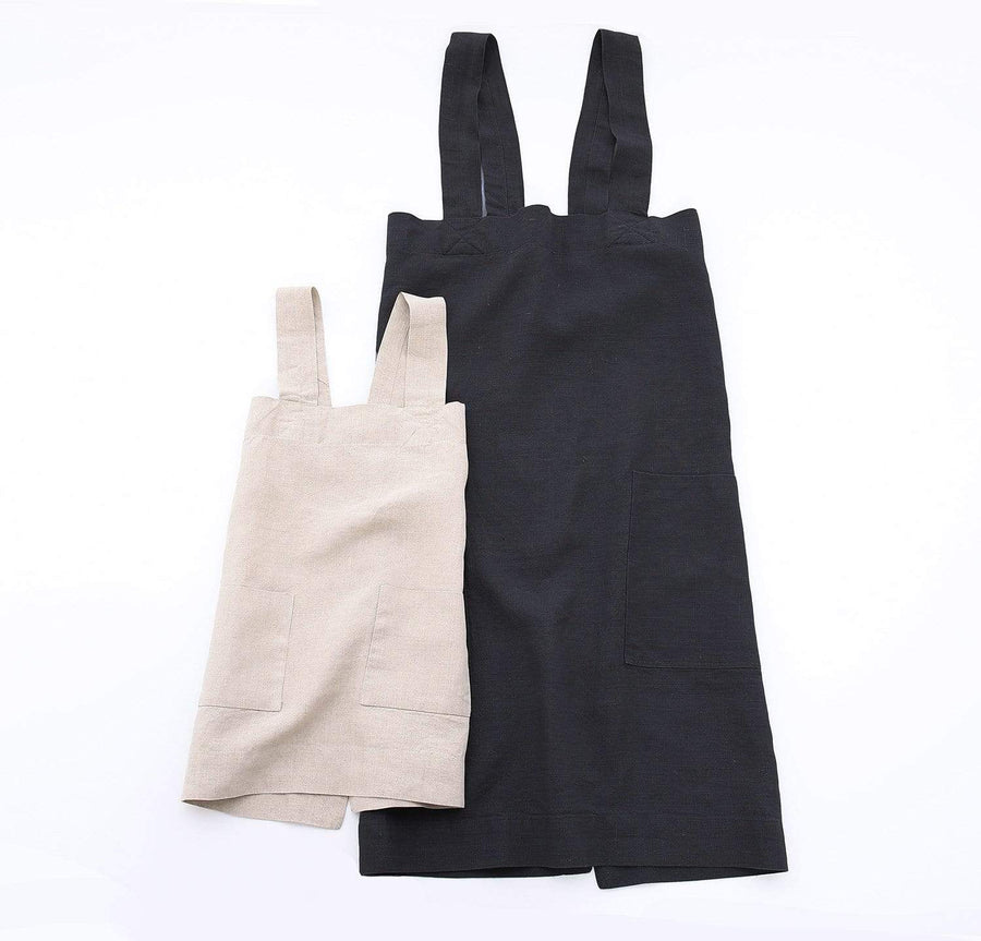 pair of 100% linen pinafore apron set with adult and children sizes black light blue aqua colors
