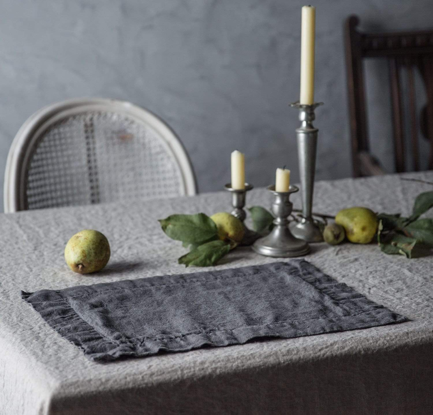 dining table scene with 100% linen placemat heavyweight Orkney linen fabric charcoal color