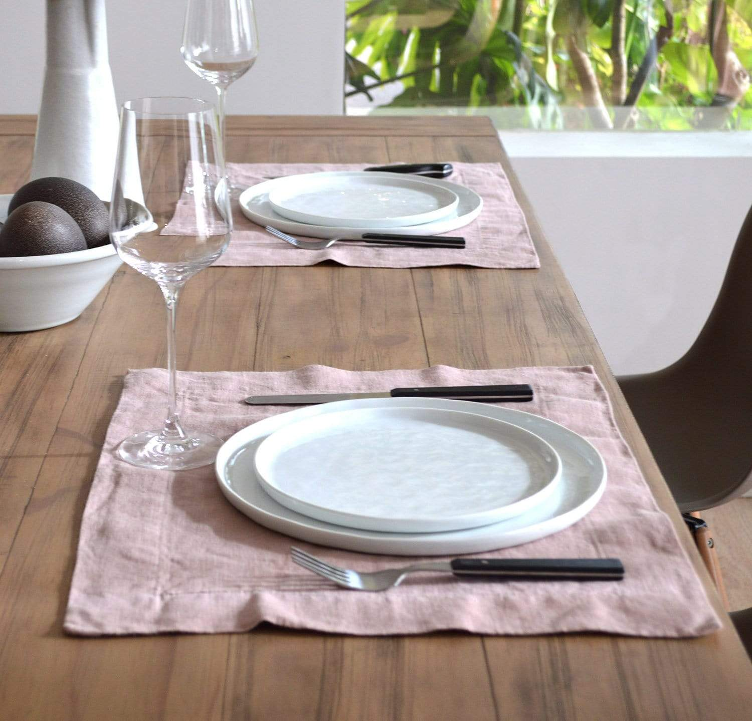 dining table scene with 100% linen placemats heavyweight Orkney linen fabric light pink blush rose color