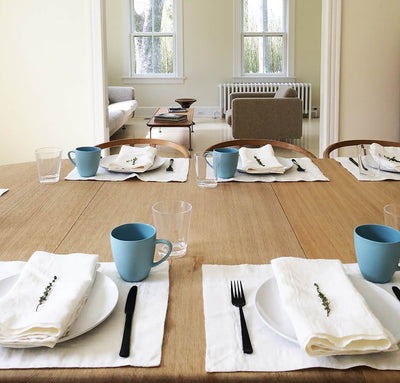 dining table scene with 100% linen placemats heavyweight Orkney linen fabric off-white white color