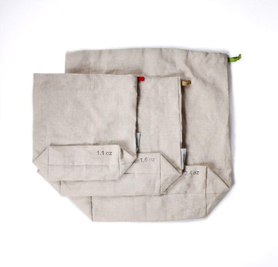 100% linen produce bags strong durable linen fabric antimicrobial multi-use shopping bags