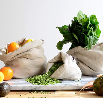 fruits and vegetables inside 100% linen produce bags strong durable linen fabric antimicrobial multi-use shopping bags