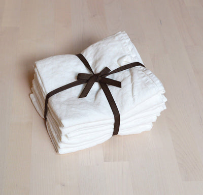 set of seven linen kitchen tea towels - white
