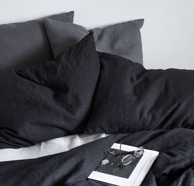black linen pillow sham pillowcase, heavyweight textural pillow covers with invisible zipper closure