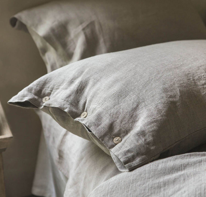 dusty pink dusk mauve linen pillow sham pillowcase, heavyweight textural rose colored pillow covers