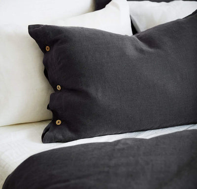 charcoal grey flax linen pillow sham pillowcase, heavyweight textural pillow covers with coconut buttons