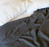 white and dark grey charcoal linen summer bedding - summer cover lightweight linen blanket