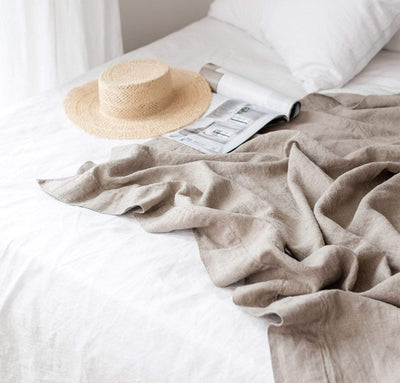 white and natural flax linen summer bedding - summer cover light summer weight blanket