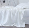 all-white bed, white linen summer bedding - summer cover lightweight linen blanket