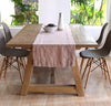dusty rose pink linen table runner on table, all-natural, quality table linens