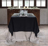 layered linen tablecloths black heavyweight linen long tablecloth with wide hems