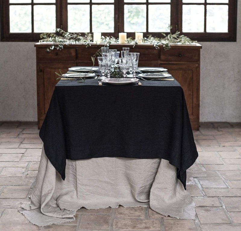 white linen tablecloth off-white heavyweight linen long tablecloth with wide hems