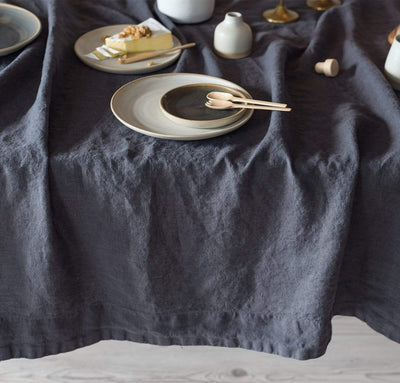 charcoal dark grey linen tablecloth gray heavyweight linen long tablecloth with wide hems