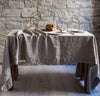 natural linen tablecloth un-dyed raw flax heavyweight linen long tablecloth with wide hems