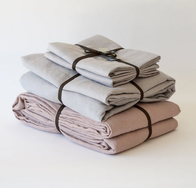 Flax linen summer bed set, 100% linen sheets and summer cover - light linen blanket, dusty rose pink light grey bedding