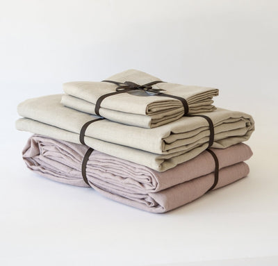 Flax linen summer bed set, 100% linen sheets and summer cover - light linen blanket, dusty rose pink natural raw un-dyed bedding