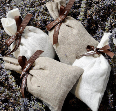 closeup detail of 100% linen filled lavender bags