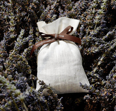 closeup detail of 100% linen filled lavender bag