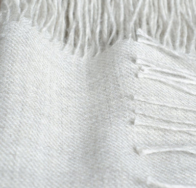 closeup detail of 100% alpaca scarf light grey color