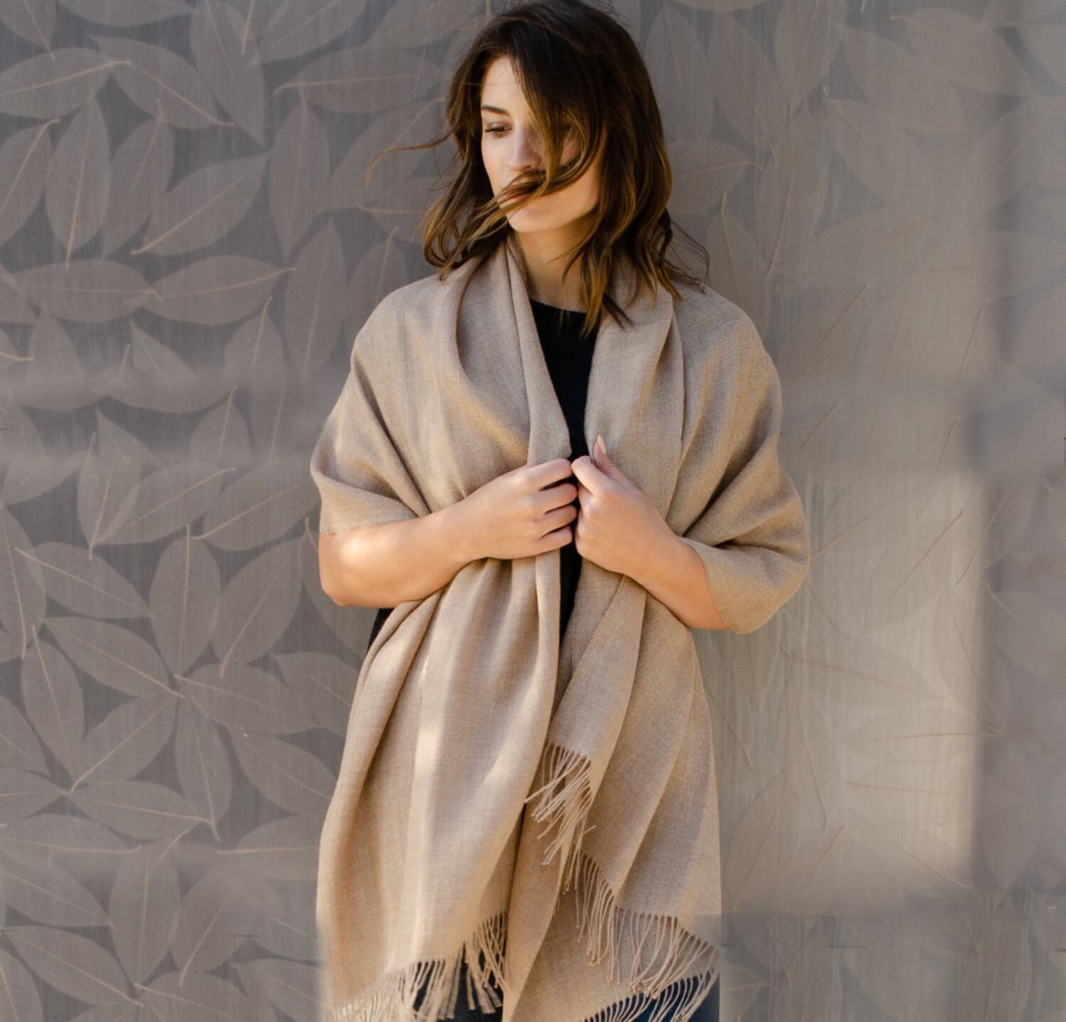 woman wearing 100% baby alpaca scarf maple light brown beige tan gold color